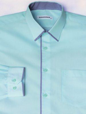 Рубашка Для Мальчика Мятная С Окантовкой
