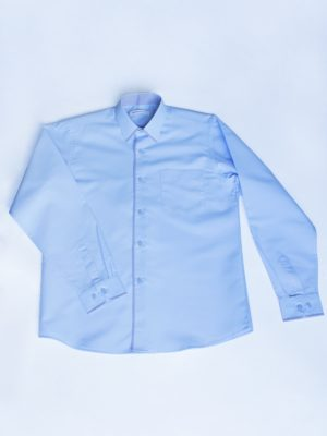 Рубашка Для Мальчика Синяя С Окантовкой вид