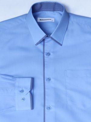 Рубашка Для Мальчика Синяя С Окантовкой