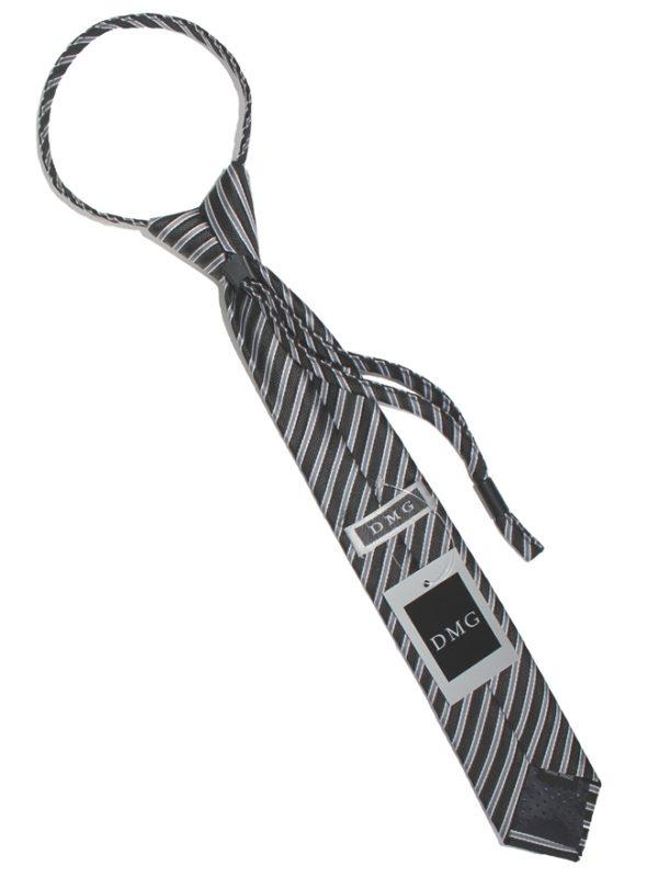 Детский галстук черный с диагональными серебряными полосами сзади