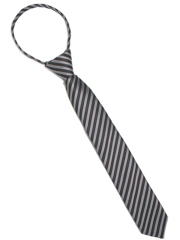 Детский галстук черный с диагональными серебряными полосами спереди