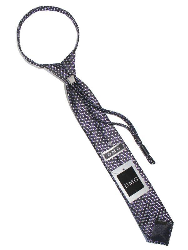 Детский галстук черный с серебристыми и сиреневыми ромбами сзади