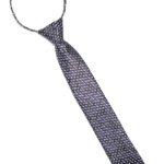 Детский галстук черный с серебристыми и сиреневыми ромбами спереди