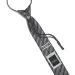 Детский галстук темно-серый с диагональными полосами в крапинку сзади