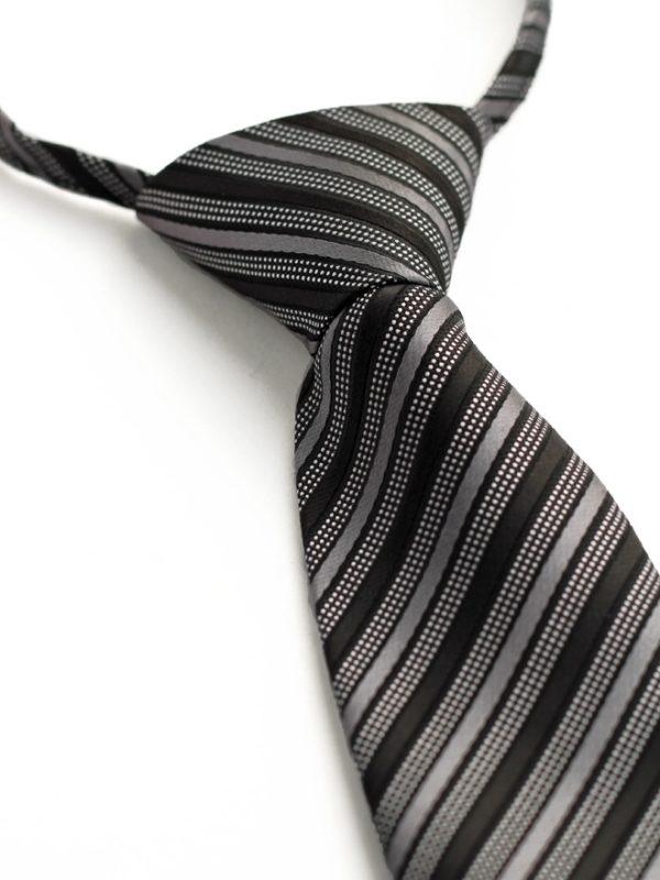 Детский галстук темно-серый с диагональными полосами в крапинку