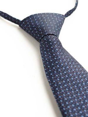 Детский галстук темно-синий с голубыми прямоугольниками и крапинкой
