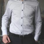 Белая рубашка с черным узором Vester 86416E_01