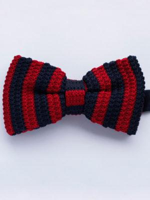 Галстук-бабочка вязаная красно-синяя 203016-09