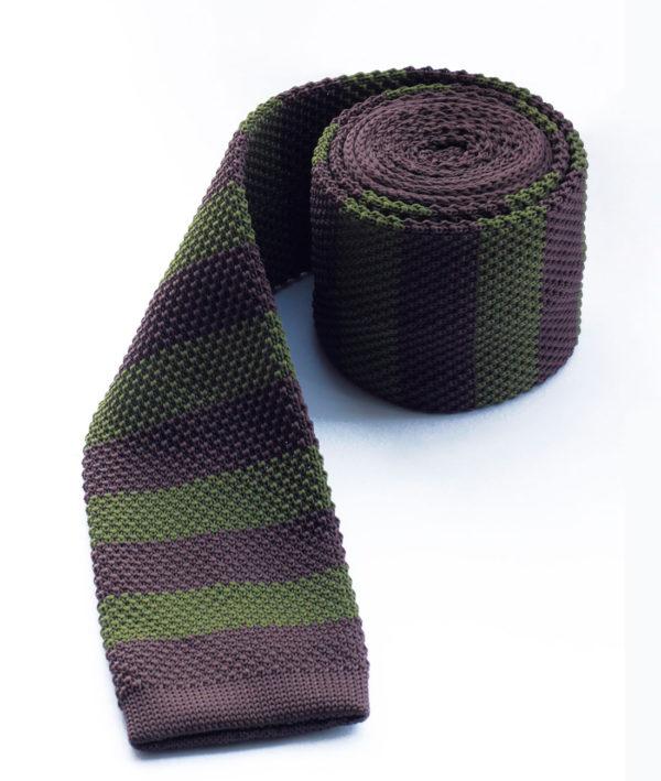 Галстук вязаный коричневый с зеленым 100315-03
