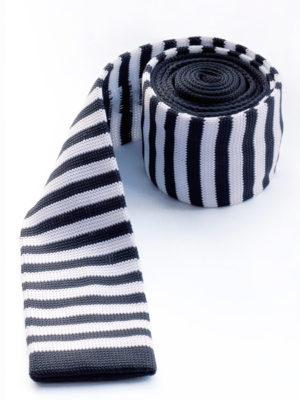Галстук вязаный черный с белым 100315-04
