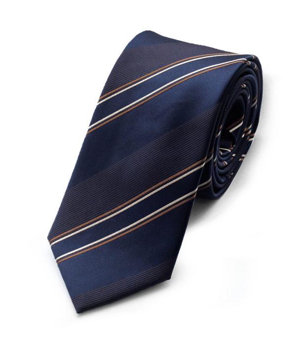 Галстук синий с коричневой полосой 102218-04