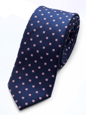 Галстук синий с розовыми квадратами 102418-04