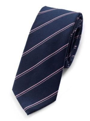 Галстук синий с розовыми полосами 102518-04