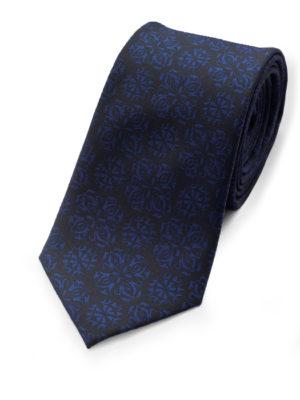 Галстук черный в синюю абстракцию 103318-09