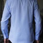 Голубая рубашка в мелкий ромбик Vester 70714 S сзади
