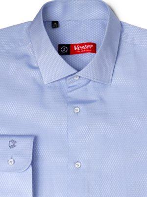 Голубая рубашка в мелкий ромбик Vester 70714 S