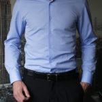 Голубая рубашка в мелкий ромбик Vester 70714S_16