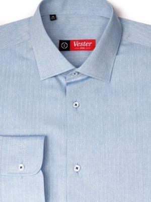 Голубая рубашка с белым узором Vester 70714 S