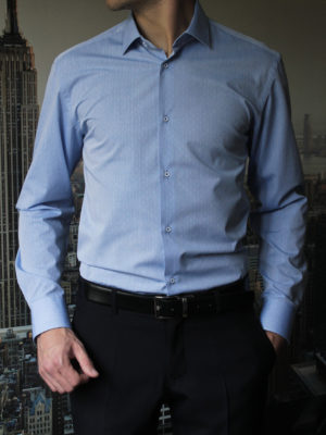 Голубая рубашка с белым узором Vester 70714S_05