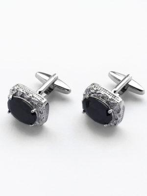 Запонки прямоугольные с бортиком с черным камнем 302918-09 спереди