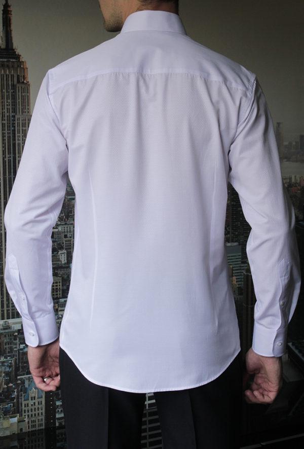 Приталенная белая рубашка под бабочку Vester 73114 S сзади