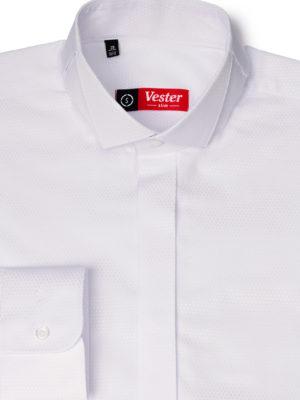Приталенная белая рубашка под бабочку Vester 73114 S
