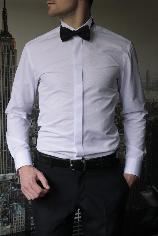 Приталенная белая рубашка под бабочку Vester 73114S_14