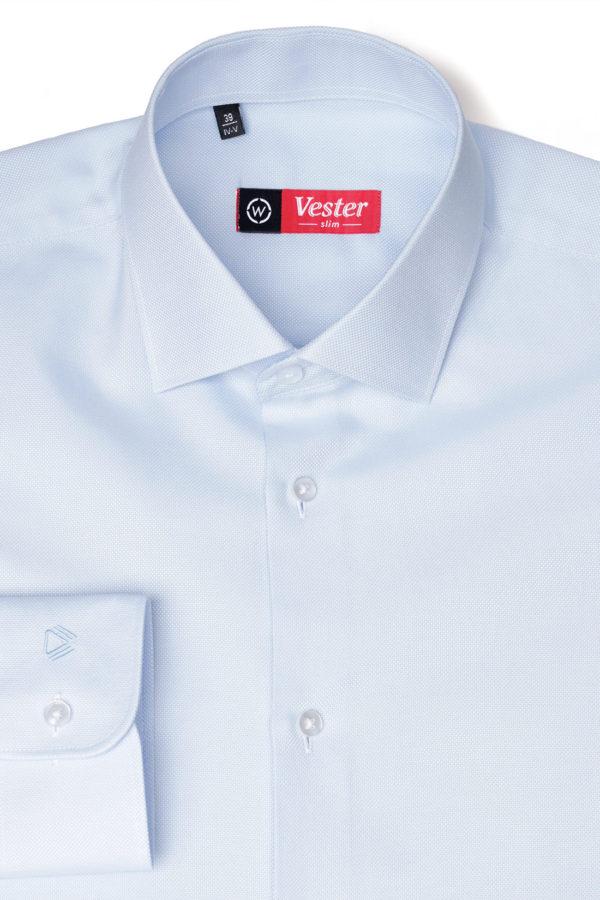 Приталенная голубая рубашка Vester 70714 W