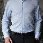Приталенная голубая рубашка Vester 70714W_03