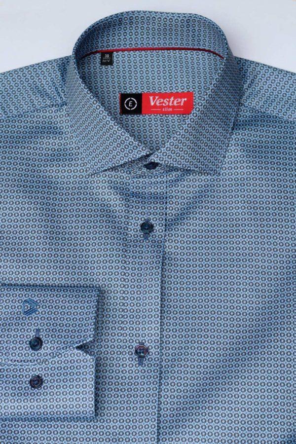 Приталенная синяя рубашка с черным узором Vester 86416 E