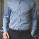Приталенная синяя рубашка с черным узором Vester 86416 E_13