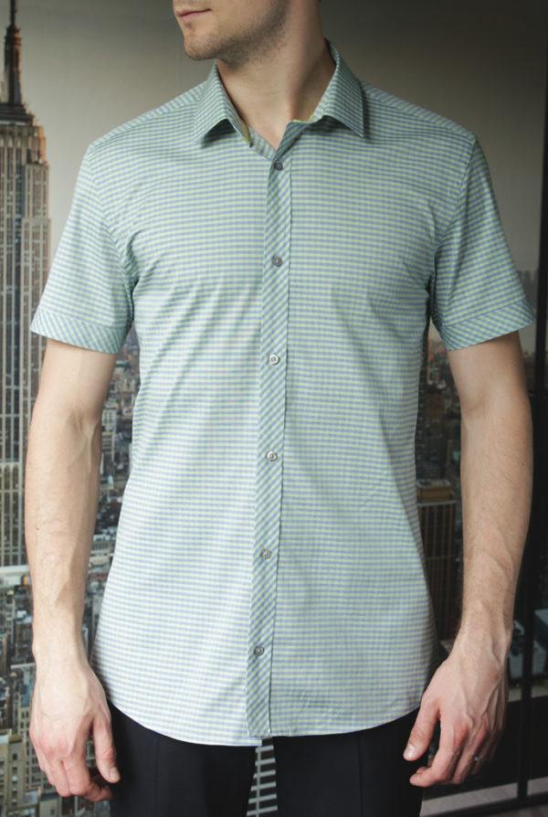 Рубашка в зеленую клетку Vester 86118 S спереди