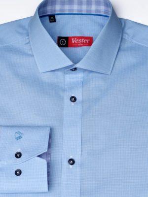 Рубашка в мелкую голубую клетку Vester 86216 S