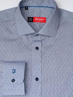 Рубашка в мелкую черно-синюю клетку Vester 87216 S