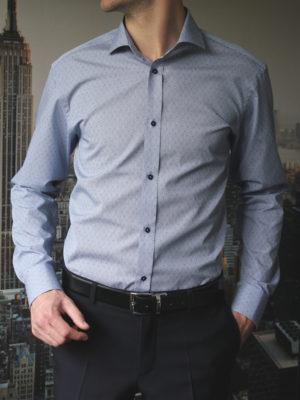 Рубашка в мелкую черно-синюю клетку Vester 87216S_03