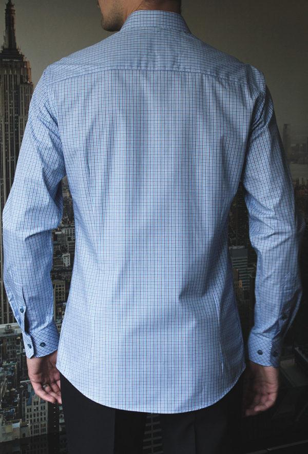 Рубашка в синюю клетку с голубыми линиями Vester 92416 S сзади