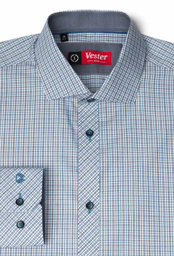 Рубашка в синюю клетку с голубыми линиями Vester 92416 S
