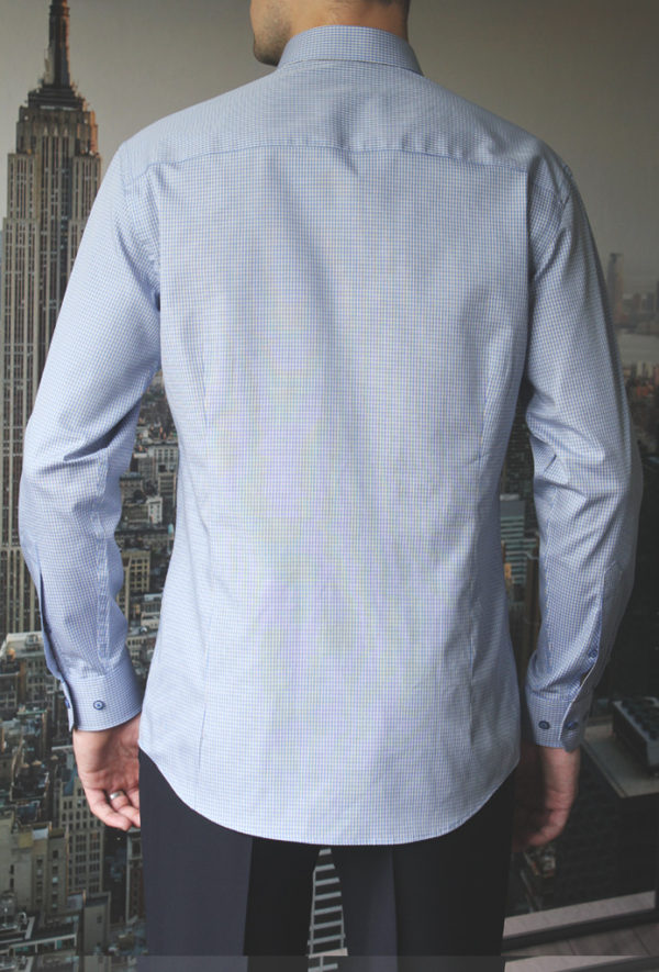 Рубашка в синюю клетку c желтыми линиями Vester 86816 S сзади