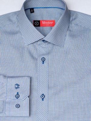 Рубашка в синюю клетку c желтыми линиями Vester 86816 S