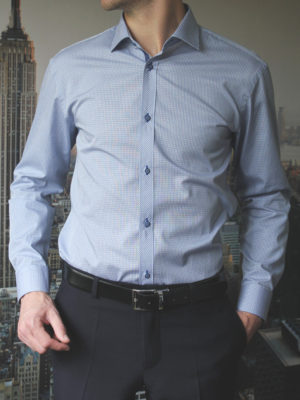 Рубашка в синюю клетку c желтыми линиями Vester 86816S_01