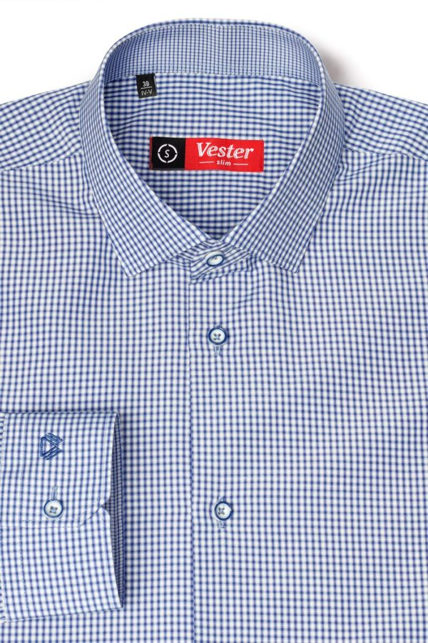 Рубашка в темно-синюю клетку Vester 93814 S