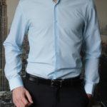 Рубашка в тонкую голубую полоску Vester 768814W_05