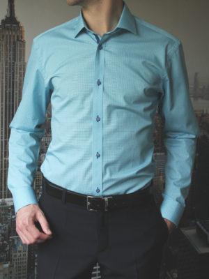 Рубашка мятная с зелеными линиями Vester 86816S_03