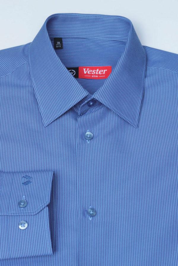 Рубашка синяя в темно синюю полоску Vester 68814 W