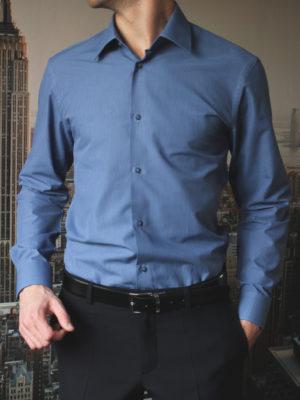 Рубашка синяя в темно синюю полоску Vester 68814W_19