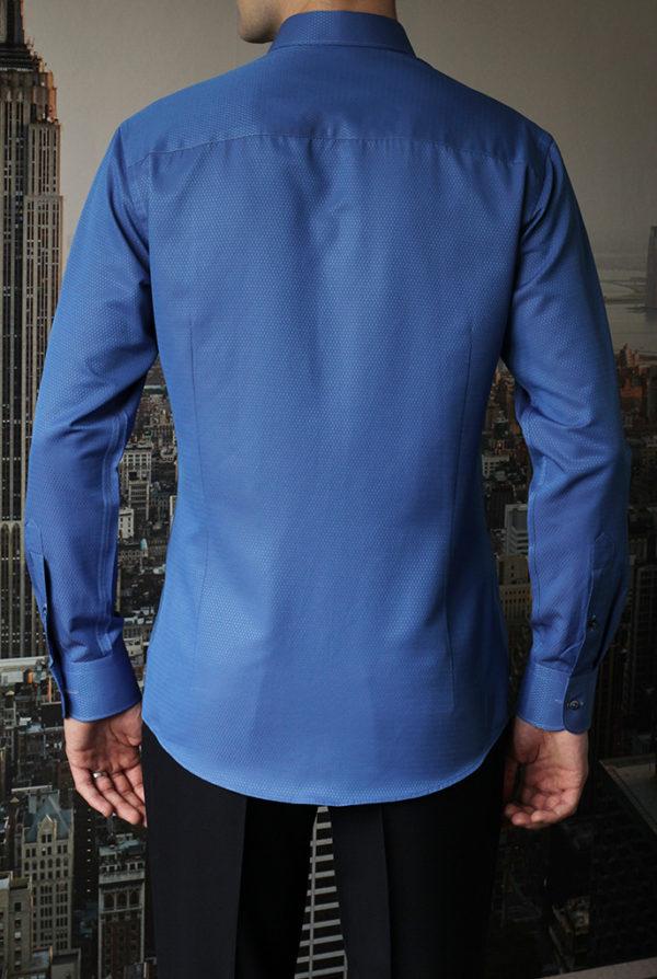 Рубашка синяя фактурная Vester 70714 S сзади