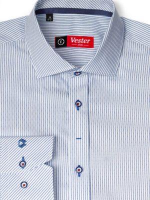 Рубашка фактурная в синюю полоску Vester 89716 E