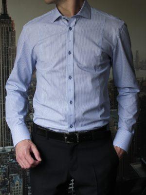 Рубашка фактурная в синюю полоску Vester 89716E_02