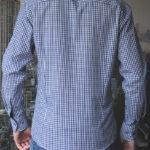 Темно синяя рубашка в клетку Vester 87516 S сзади