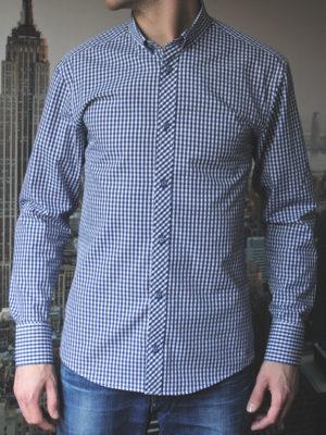 Темно синяя рубашка в клетку Vester 87516 S спереди